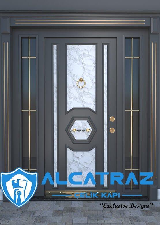 Siyah Dış Kapı Granit Desenli Modern Villa Kapısı Çelik Giriş Kapısı