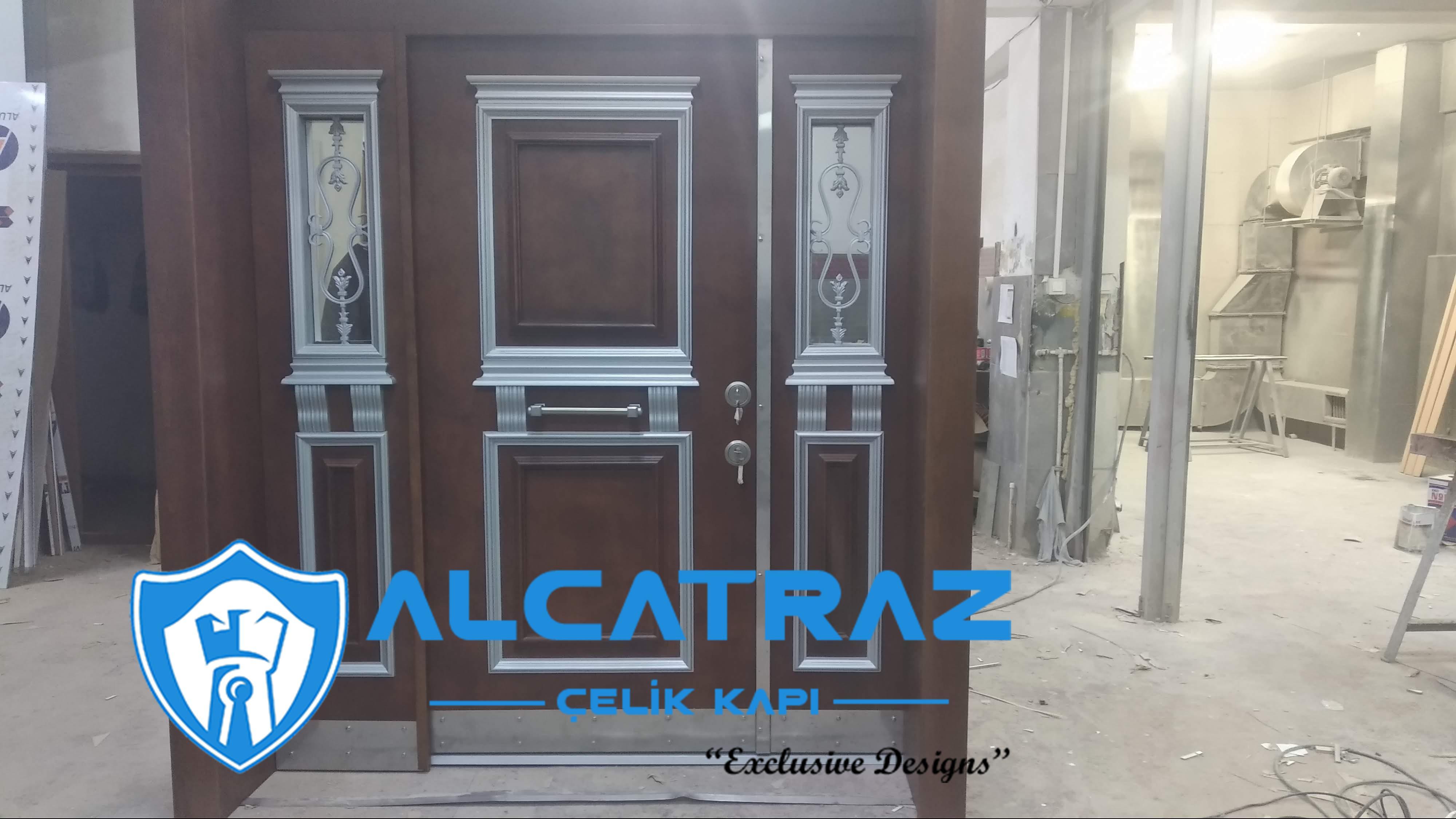 Lüks Çelik Gri Kapı Villa Kapısı Klasik Özel Tasarım Kompozit Çelik Kapı Modelleri Alcatraz Çelik Kapı